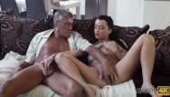 Manage real sex Daddy4k. skillful old man manages to fuck comely brunette on sofa