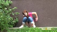 Man pissing outside Shy and nervous redhead pees outside