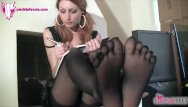 Redhead toes Redhead schoolgirl shows feet in five toes pantyhose
