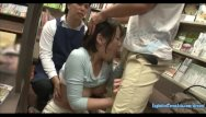 Cute asian stores Sanada miki ambushed in book store jeans cut at the crutch and made to fuck