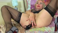 Tufted tit mouse British milf mouse loves to stuff her fanny with things