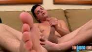 Cock gay juicy Juicy twink carasses his feet while tugging off hard