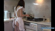 Fried asian noodles recipe Jav amateur babe maya squirts into frying pan then fucked in the kitchen