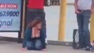Drunk big tit teen Drunk fucks homeless out bus stop