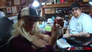 Erotic playing Shyla stylez gets tattooed while playing with her tits