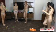 Strip lesbians Its a group thing 5 girls challenge each other to a strip off game