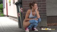 Teens public peeing This babe pees in the city