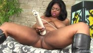 Pornstar mirage Chubby beauty ms mirage treats her black pussy to a vibrator orgasm