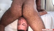 Bear gay vids Manalized josh stone cums hard while latino daddy fucks him