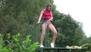Girls pee outdoors A sweet and secret outdoor pee