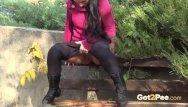 Guys pissing in public Brunette hottie takes huge long piss on bench in public