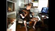 Bodystocking shemale Bob milgate - a freak in a sheer black bodystocking