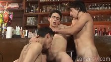 Hunky barman initiates a jolly 3some party