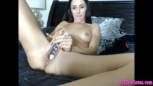 Beautiful bitch play pussy with vibrator toys