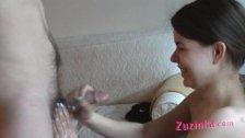 Horny amateur Zuzinka does BJ on casting