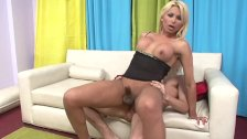 Trans Erotica - Hot Blonde T-girl Drains Both