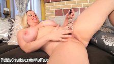 Busty Maggie Green Gets Off with Glass Toy!