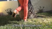 Asian Mina wetting her jeans and Hooters pee