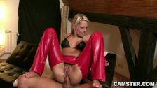 Russian wears her crotchless pants for anal
