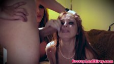 Cuckqueaned babe facialized during taboo trio
