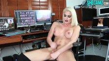 Hot Blonde Shemale Cumshot