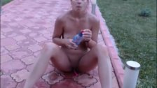 horny teen showing off her body outside