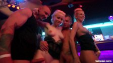 Naughty beauties fucked in public at party