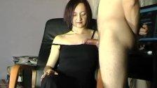 huge cumshot on Maya black dress