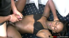 Dark skin tranny masturbates her huge black shecock