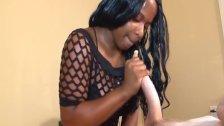 Teen ebony strokes a big dick