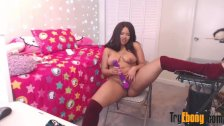 Young ebony sweet girl April with natural pierced tits
