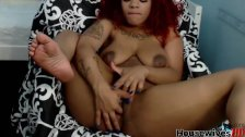 Red skirt and hair ebony girl oh yes she is real hot