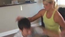 Blonde Wrestles and Crushes a Man, Mixed Wrestling on the Mat with Scissors