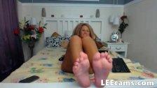 Blonde footjob