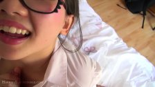 Cute asian schoolgirl in preppy glasses fucks