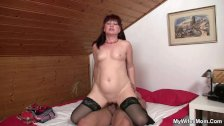 Lusty mature bitch rides son in law cock