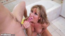 Slutty MILF Surprises Daughters Boyfriend in Shower