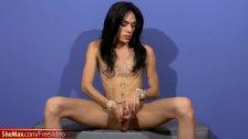 Super slim Latina TS with big lips exposes massive shecock