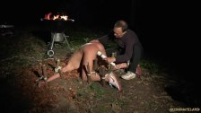 Big tits teen slut squirting in bondage punishment fuck in the forest