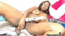 Naked gorgeous ebony Dahlia masturbates with two toys