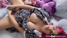 Curvy schoolgirl with hairy cunt masturbates