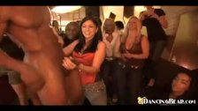 Girls having fun with male stripper