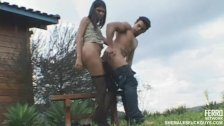 Guy humping chick's dick