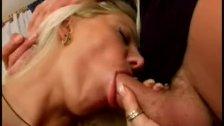 Blond sucker gagging on cock