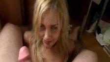Drunk blonde chick sucking dick