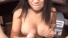 Busty Kayme Kai stroking and blowing
