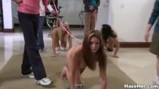 Naked sorority girls treated like dogs