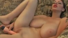 Huge breasts babe dildoing sex