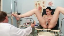 Busty babe gyno exam by filthy elder doctor