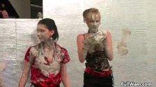 Mud loving Euro girls digging
